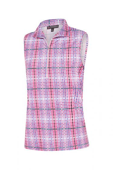 Birdee Check Up Sleeveless Top in Pink