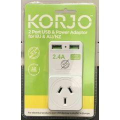 Korjo USB and Power Adapter AU/EU