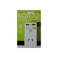 Korjo Japan USB Adaptor - 2 ports use Aus/Japan
