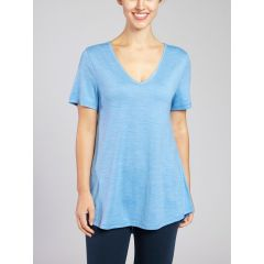 Hedrena Merino V-neck A-Line Misty Blue Womens